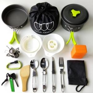 17 Piece Camping Cookware Mess Kit